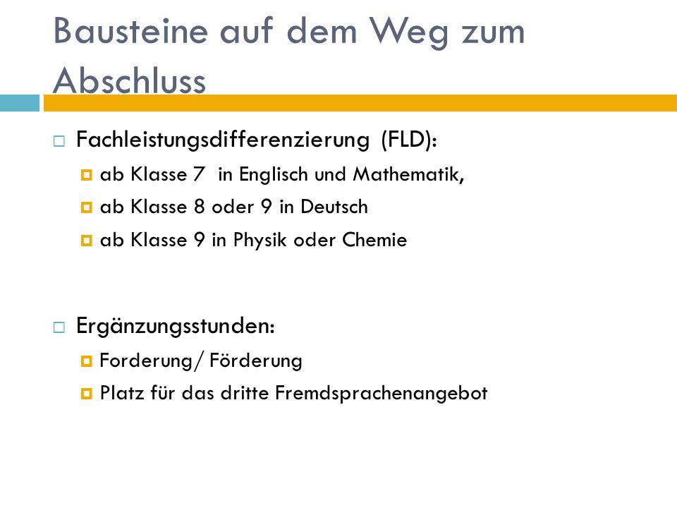 Bausteine auf dem Weg zum Abschluss  Fachleistungsdifferenzierung (FLD):  ab Klasse 7 in Englisch und Mathematik,  ab Klasse 8 oder 9 in Deutsch  ab Klasse 9 in Physik oder Chemie  Ergänzungsstunden:  Forderung/ Förderung  Platz für das dritte Fremdsprachenangebot