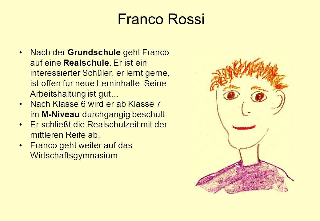 Franco Rossi Nach der Grundschule geht Franco auf eine Realschule. Er ist ein interessierter Schüler, er lernt gerne, ist offen für neue Lerninhalte.
