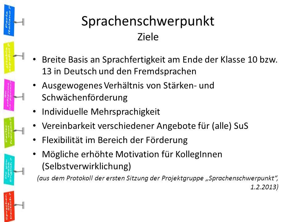 Sprachenschwerpunkt Ziele Breite Basis an Sprachfertigkeit am Ende der Klasse 10 bzw.