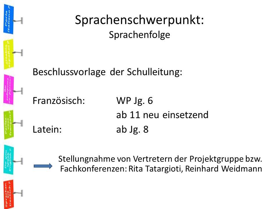 Sprachenschwerpunkt: Sprachenfolge Beschlussvorlage der Schulleitung: Französisch: WP Jg.