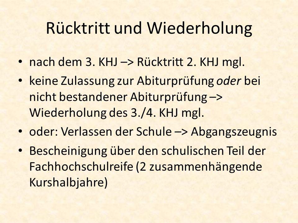 Rücktritt und Wiederholung nach dem 3. KHJ –> Rücktritt 2.