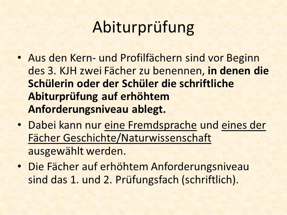 Abiturprüfung Aus den Kern- und Profilfächern sind vor Beginn des 3.