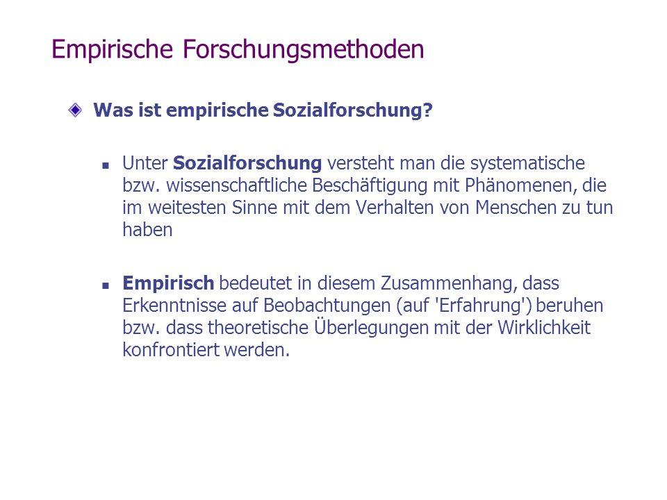 Empirische Forschungsmethoden Was ist empirische Sozialforschung? Unter Sozialforschung versteht man die systematische bzw. wissenschaftliche Beschäft