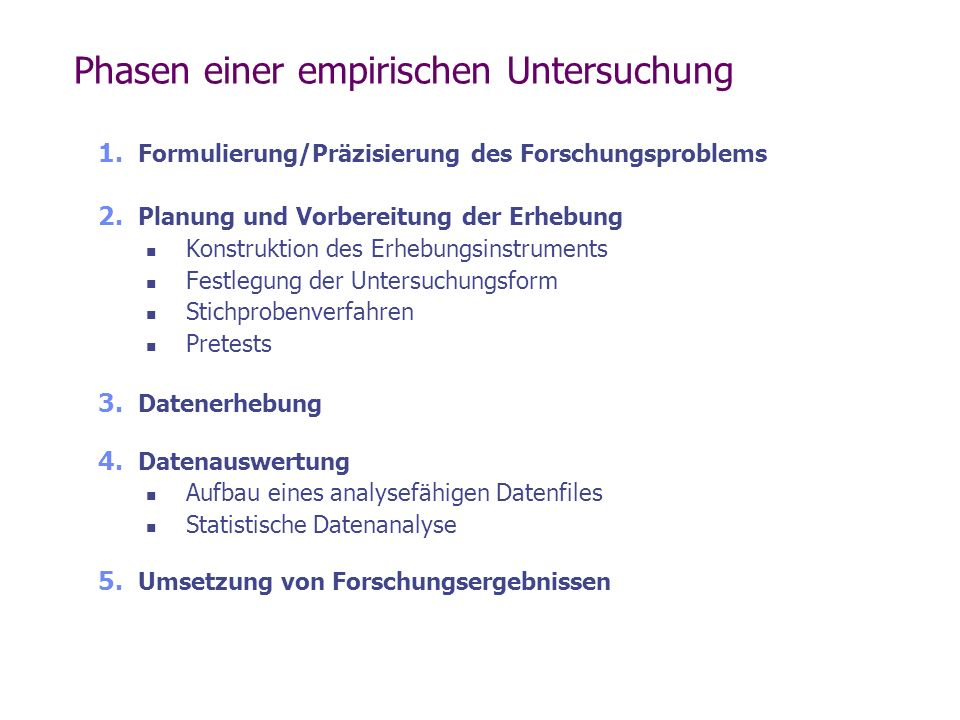 Phasen einer empirischen Untersuchung 1. Formulierung/Präzisierung des Forschungsproblems 2. Planung und Vorbereitung der Erhebung Konstruktion des Er