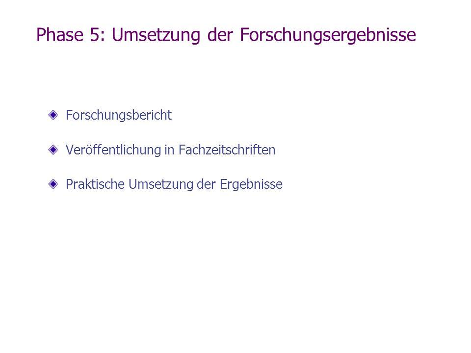 Phase 5: Umsetzung der Forschungsergebnisse Forschungsbericht Veröffentlichung in Fachzeitschriften Praktische Umsetzung der Ergebnisse