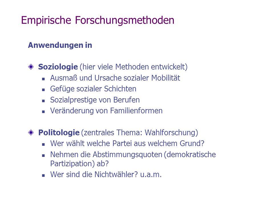 Empirische Forschungsmethoden Anwendungen in Soziologie (hier viele Methoden entwickelt) Ausmaß und Ursache sozialer Mobilität Gefüge sozialer Schicht