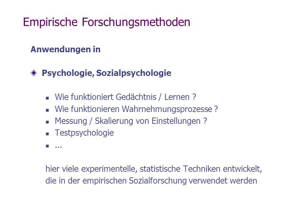 Empirische Forschungsmethoden Anwendungen in Psychologie, Sozialpsychologie Wie funktioniert Gedächtnis / Lernen ? Wie funktionieren Wahrnehmungsproze