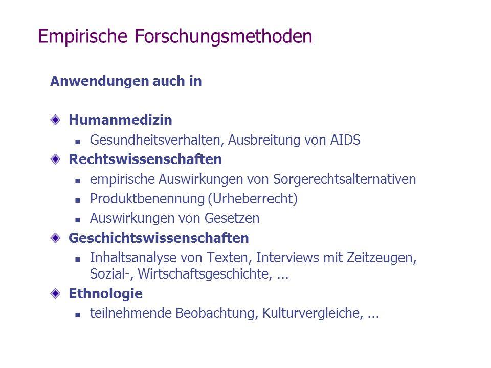 Empirische Forschungsmethoden Anwendungen auch in Humanmedizin Gesundheitsverhalten, Ausbreitung von AIDS Rechtswissenschaften empirische Auswirkungen
