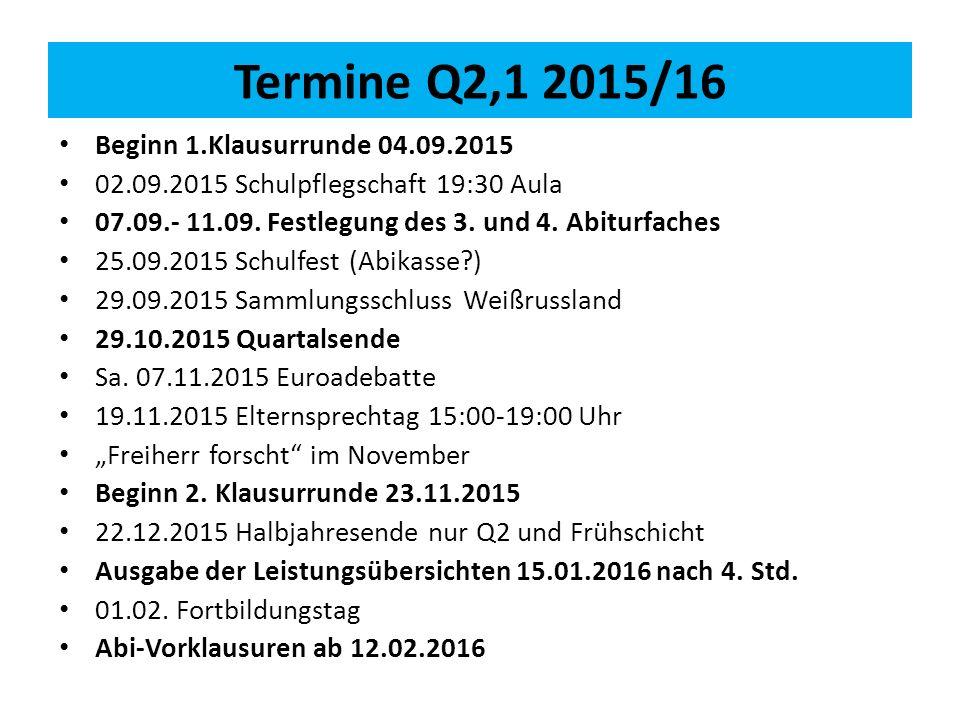 Termine Q2,1 2015/16 Beginn 1.Klausurrunde 04.09.2015 02.09.2015 Schulpflegschaft 19:30 Aula 07.09.- 11.09.