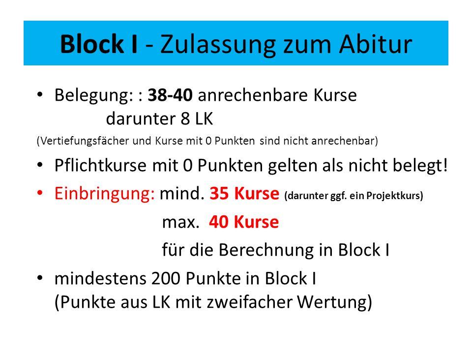 Block I - Zulassung zum Abitur Belegung: : 38-40 anrechenbare Kurse darunter 8 LK (Vertiefungsfächer und Kurse mit 0 Punkten sind nicht anrechenbar) Pflichtkurse mit 0 Punkten gelten als nicht belegt.