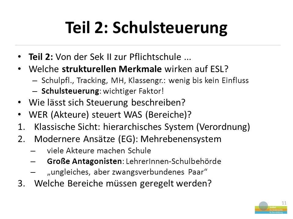 Teil 2: Schulsteuerung Teil 2: Von der Sek II zur Pflichtschule...