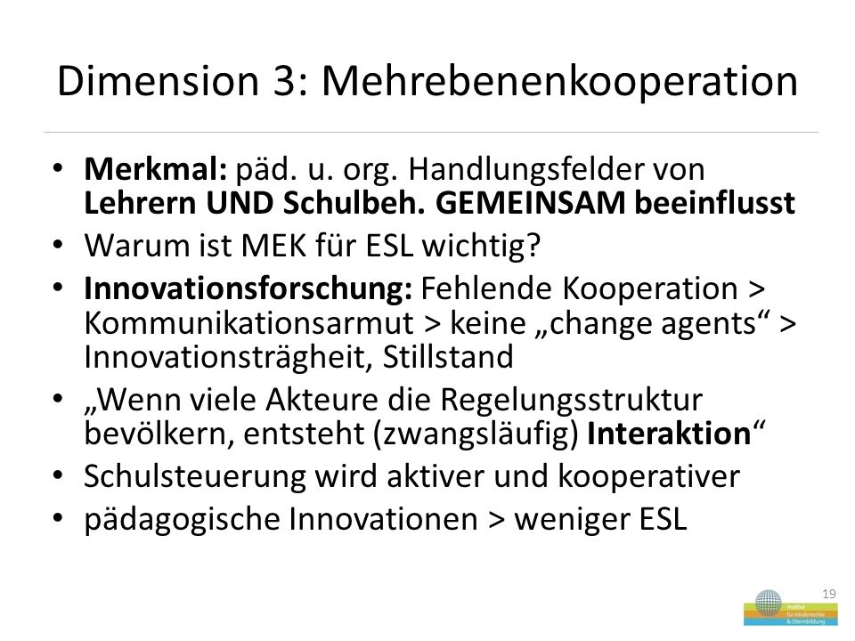 Dimension 3: Mehrebenenkooperation Merkmal: päd. u.