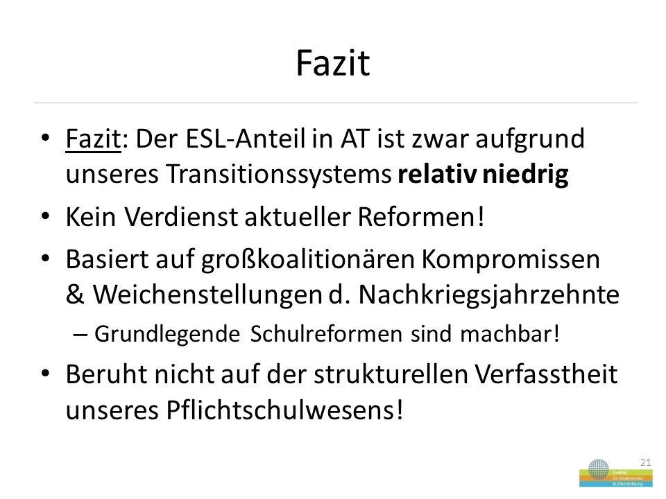 Fazit Fazit: Der ESL-Anteil in AT ist zwar aufgrund unseres Transitionssystems relativ niedrig Kein Verdienst aktueller Reformen.