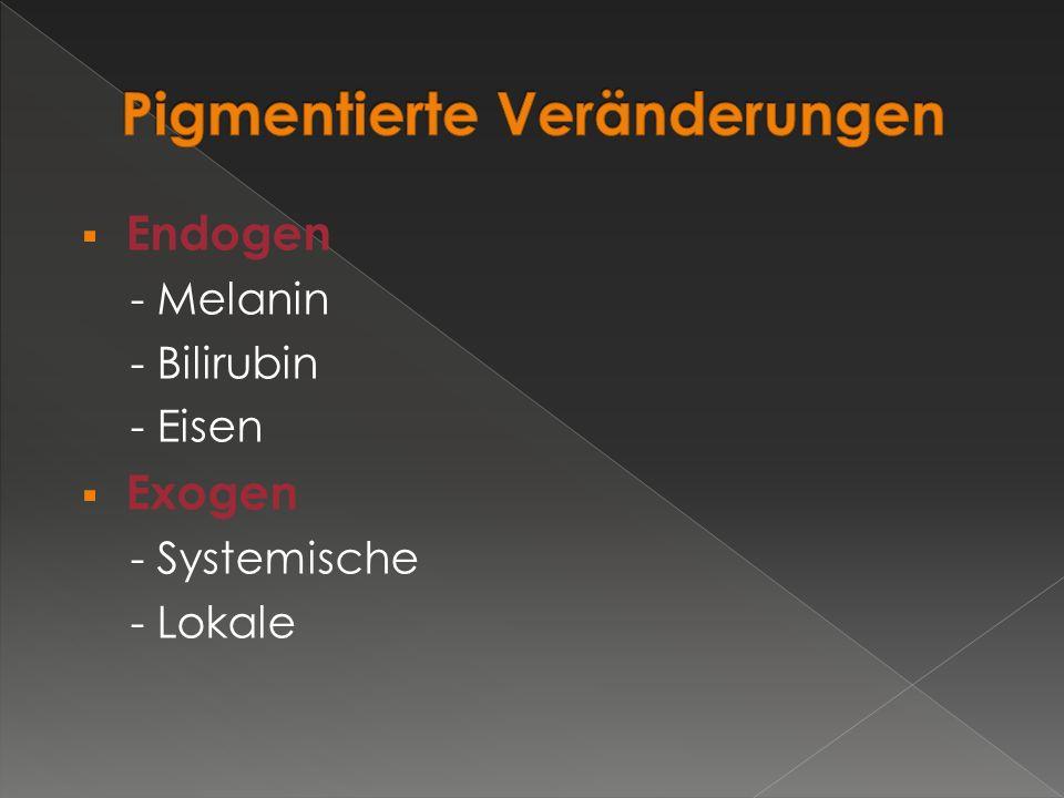  Endogen - Melanin - Bilirubin - Eisen  Exogen - Systemische - Lokale