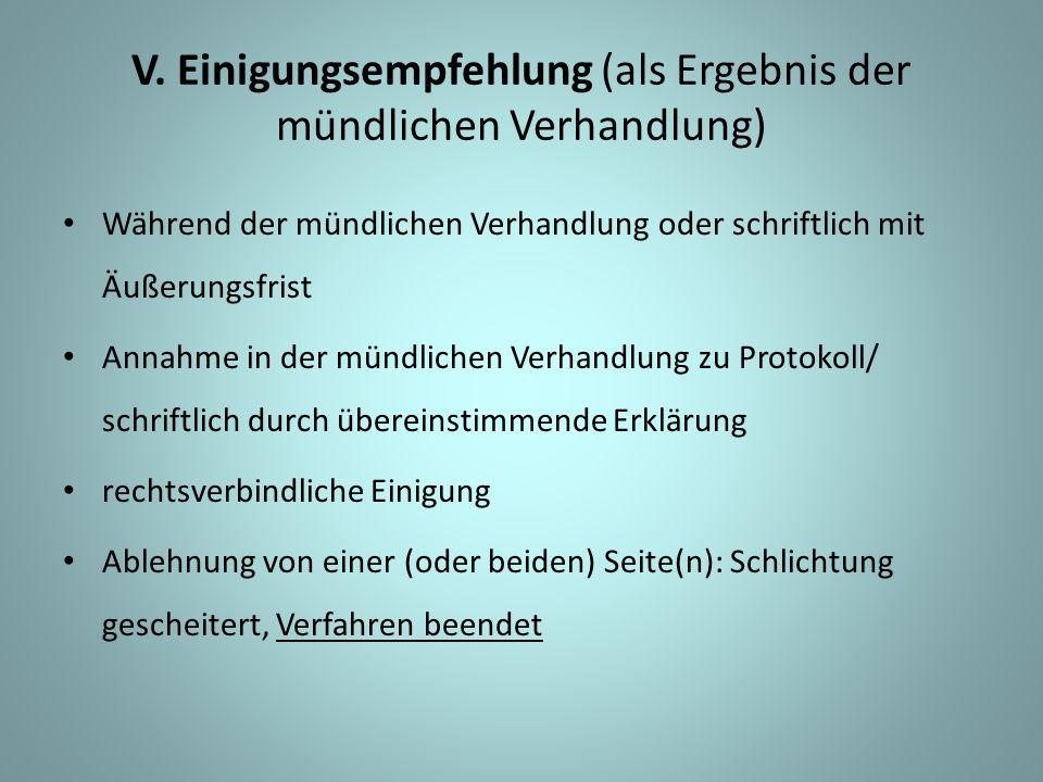V. Einigungsempfehlung (als Ergebnis der mündlichen Verhandlung) Während der mündlichen Verhandlung oder schriftlich mit Äußerungsfrist Annahme in der