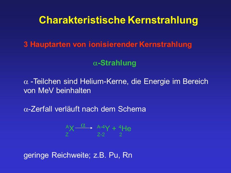 Charakteristische Kernstrahlung 3 Hauptarten von ionisierender Kernstrahlung  -Strahlung  -Teilchen sind Helium-Kerne, die Energie im Bereich von Me