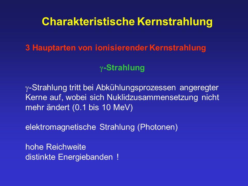 Charakteristische Kernstrahlung 3 Hauptarten von ionisierender Kernstrahlung  -Strahlung  -Strahlung tritt bei Abkühlungsprozessen angeregter Kerne