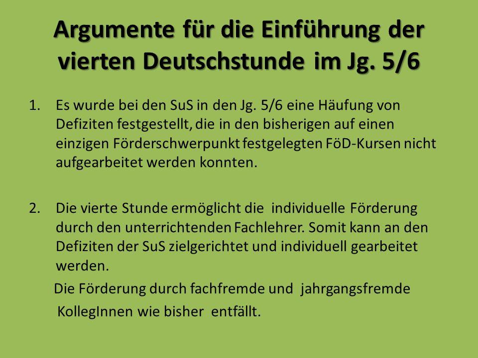 Argumente für die Einführung der vierten Deutschstunde im Jg.