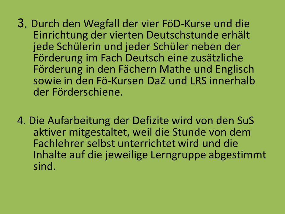 3. Durch den Wegfall der vier FöD-Kurse und die Einrichtung der vierten Deutschstunde erhält jede Schülerin und jeder Schüler neben der Förderung im F