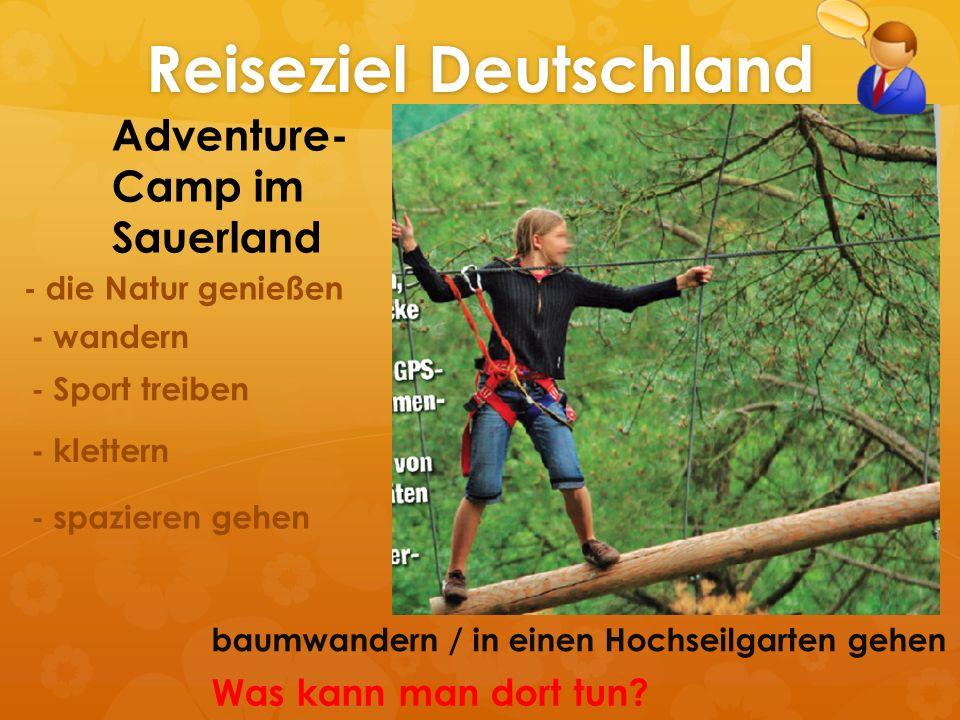 Reiseziel Deutschland Adventure- Camp im Sauerland - die Natur genießen - wandern - Sport treiben - klettern - spazieren gehen baumwandern / in einen