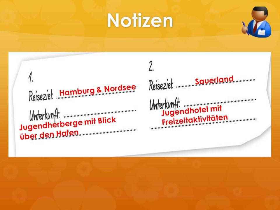 Notizen Hamburg & Nordsee Jugendherberge mit Blick über den Hafen Sauerland Jugendhotel mit Freizeitaktivitäten