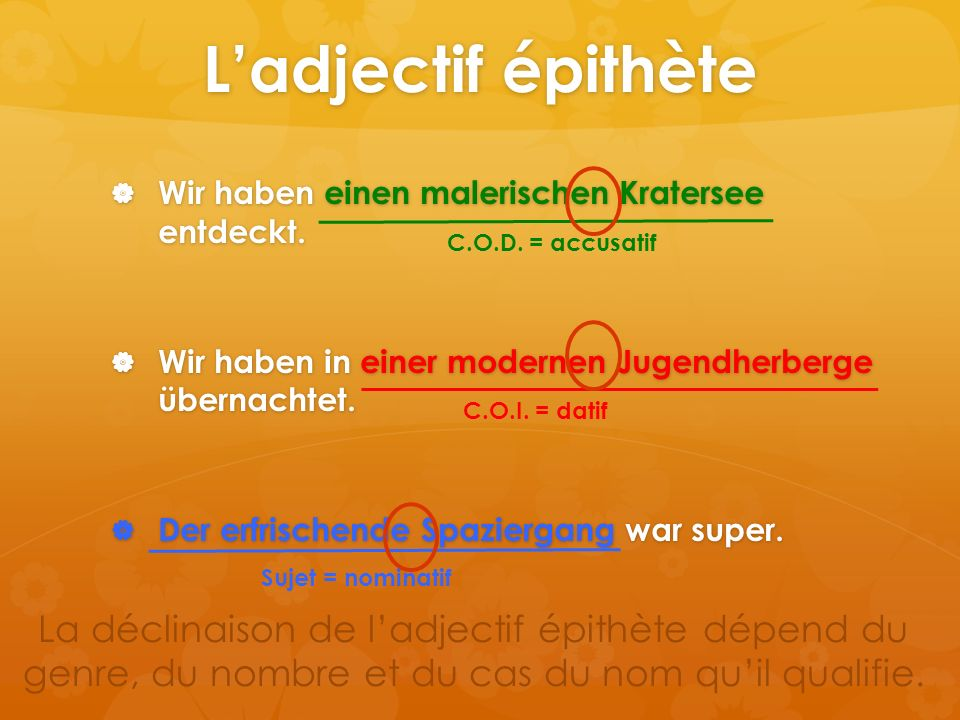 Reiseziel  L'adjectif se place toujours devant le nom qu'il détermine et prend une terminaison.