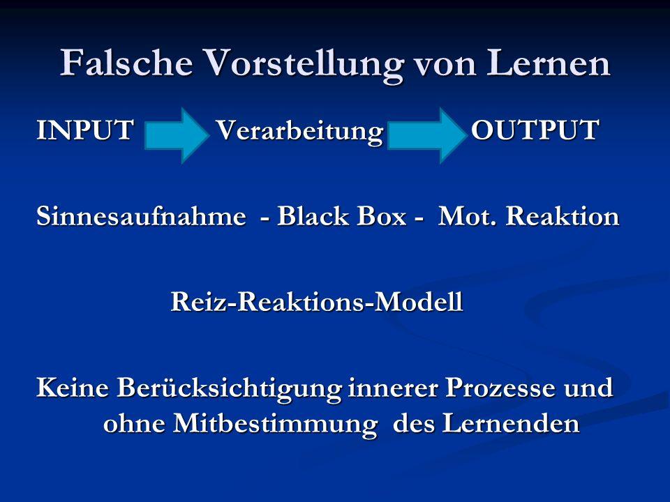 Falsche Vorstellung von Lernen INPUT Verarbeitung OUTPUT Sinnesaufnahme - Black Box - Mot. Reaktion Reiz-Reaktions-Modell Keine Berücksichtigung inner