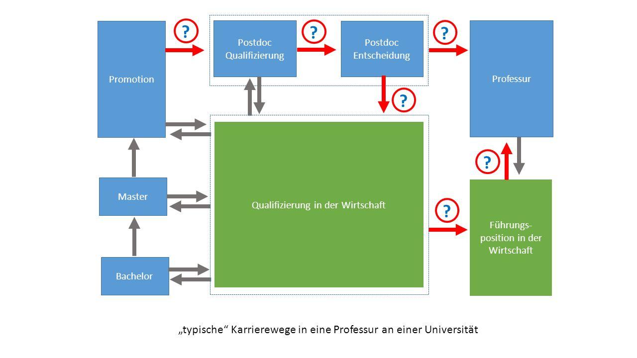 """Promotion Postdoc Qualifizierung Postdoc Entscheidung Professur Führungs- position in der Wirtschaft Master Bachelor Qualifizierung in der Wirtschaft """"typische Karrierewege in eine Professur an einer Universität ."""