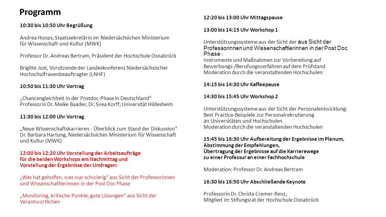 10:30 bis 10:50 Uhr Begrüßung Andrea Hoops, Staatssekretärin im Niedersächsichen Ministerium für Wissenschaft und Kultur (MWK) Professor Dr.