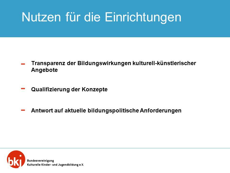 Nutzen für die Einrichtungen Transparenz der Bildungswirkungen kulturell-künstlerischer Angebote Qualifizierung der Konzepte Antwort auf aktuelle bild
