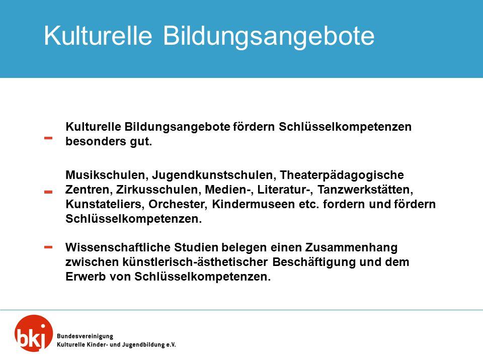 Kulturelle Bildungsangebote Kulturelle Bildungsangebote fördern Schlüsselkompetenzen besonders gut. Musikschulen, Jugendkunstschulen, Theaterpädagogis