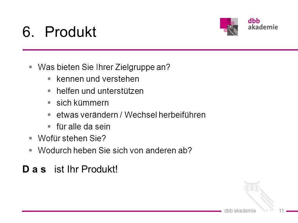 dbb akademie 11 6.Produkt  Was bieten Sie Ihrer Zielgruppe an.