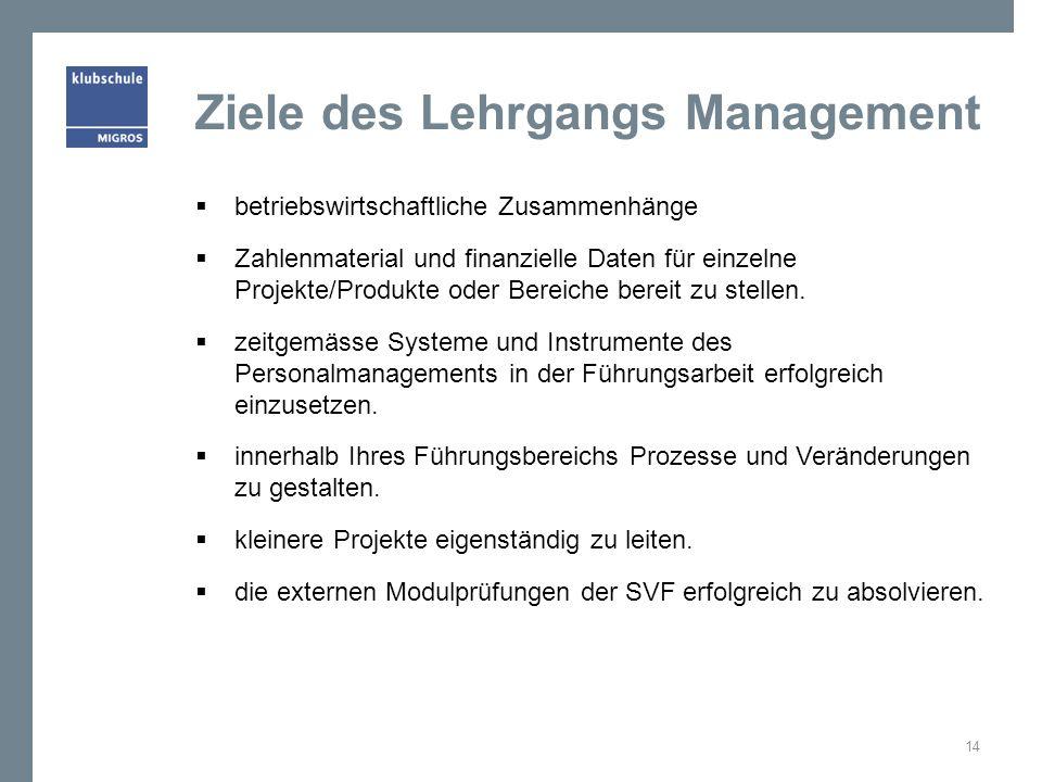 Ziele des Lehrgangs Management  betriebswirtschaftliche Zusammenhänge  Zahlenmaterial und finanzielle Daten für einzelne Projekte/Produkte oder Bereiche bereit zu stellen.
