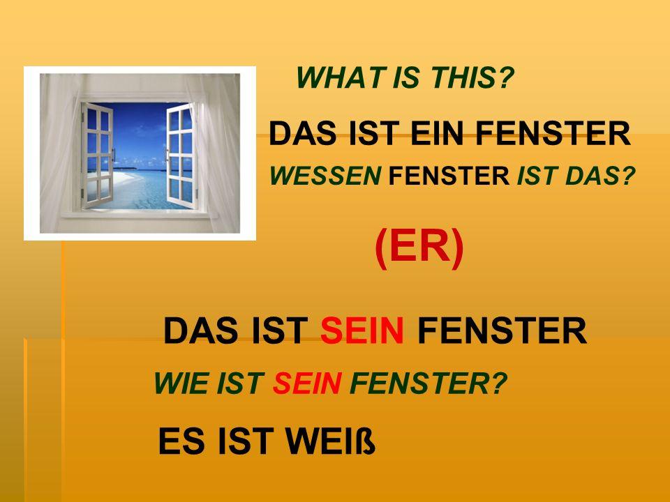 WHAT IS THIS? DAS IST EIN FENSTER DAS IST SEIN FENSTER WESSEN FENSTER IST DAS? (ER) WIE IST SEIN FENSTER? ES IST WEIß