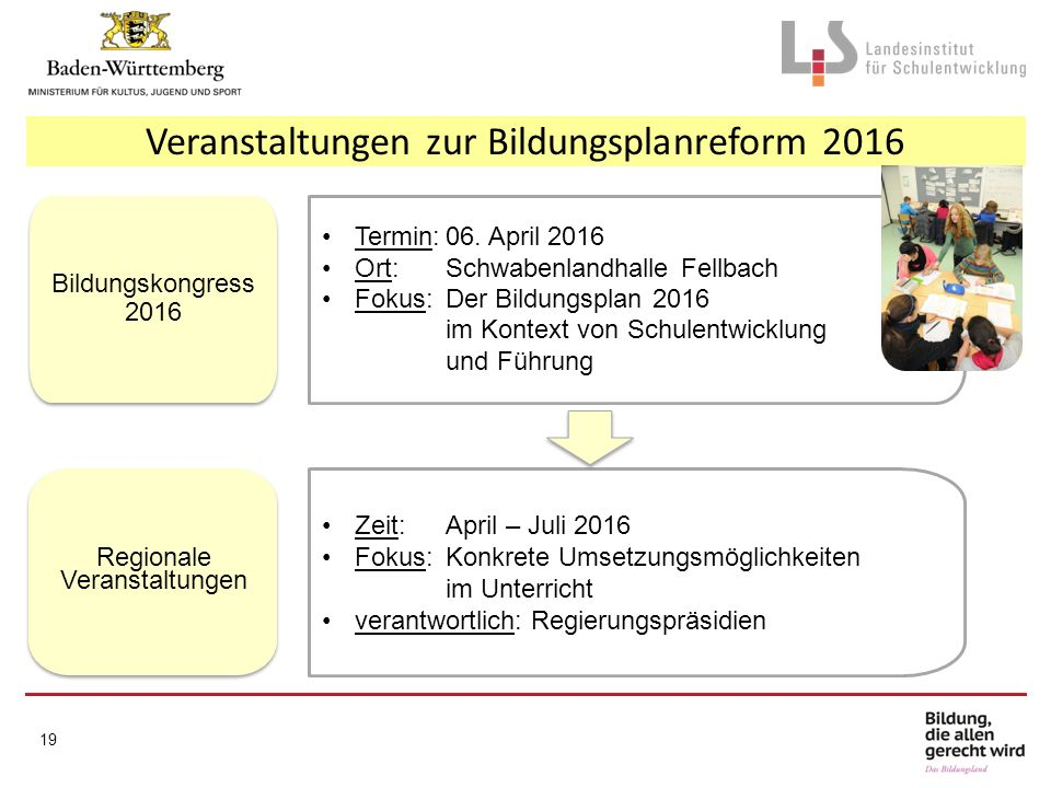 19 Termin:06. April 2016 Ort:Schwabenlandhalle Fellbach Fokus:Der Bildungsplan 2016 im Kontext von Schulentwicklung und Führung Bildungskongress 2016