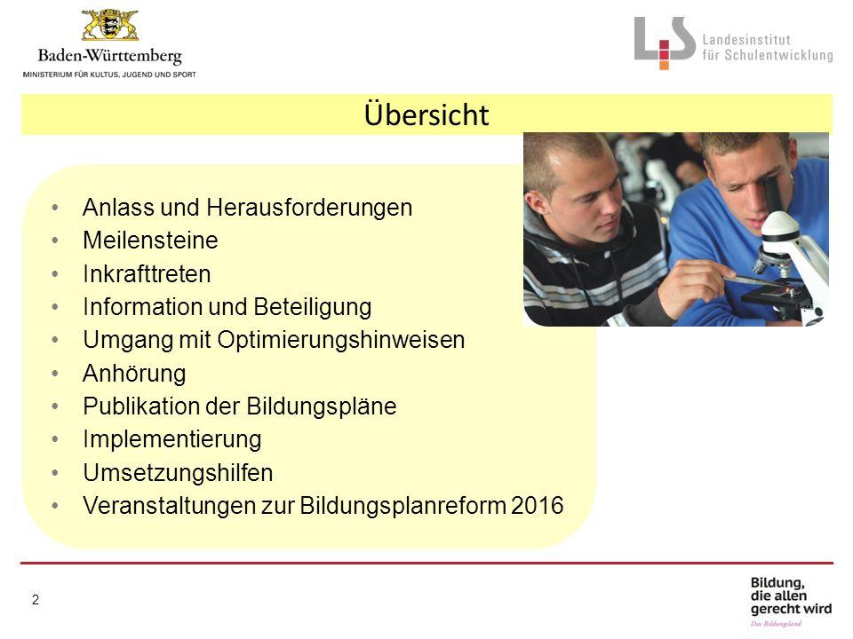 Anlass und Herausforderungen Meilensteine Inkrafttreten Information und Beteiligung Umgang mit Optimierungshinweisen Anhörung Publikation der Bildungs
