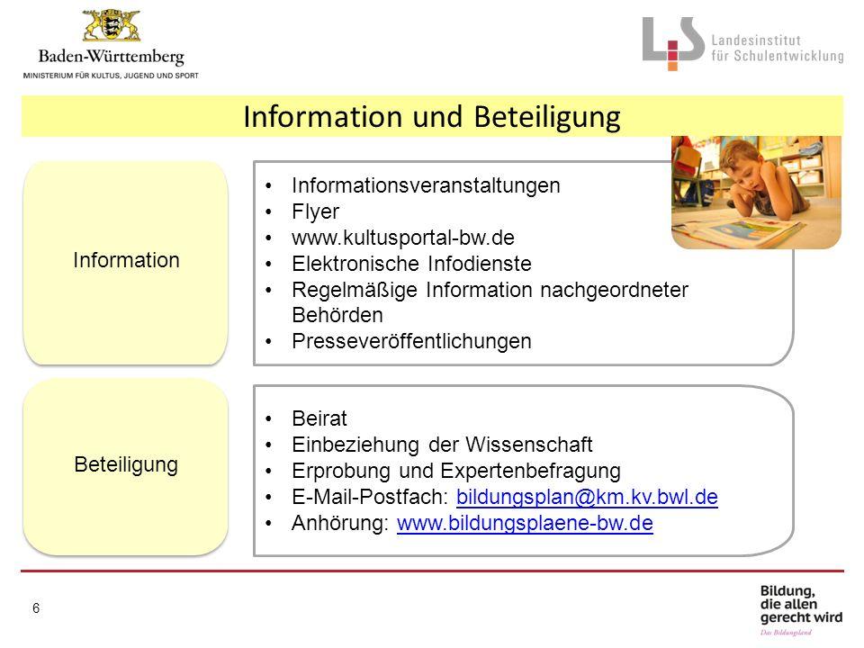 6 Informationsveranstaltungen Flyer www.kultusportal-bw.de Elektronische Infodienste Regelmäßige Information nachgeordneter Behörden Presseveröffentli
