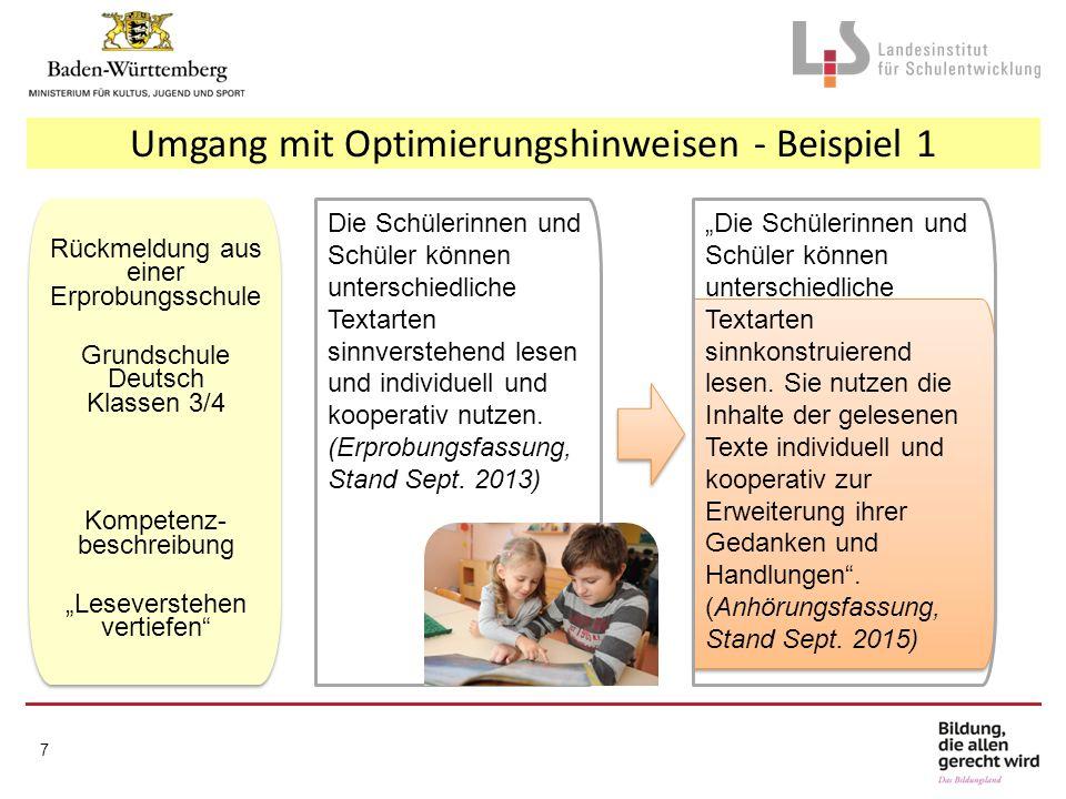 7 Die Schülerinnen und Schüler können unterschiedliche Textarten sinnverstehend lesen und individuell und kooperativ nutzen. (Erprobungsfassung, Stand