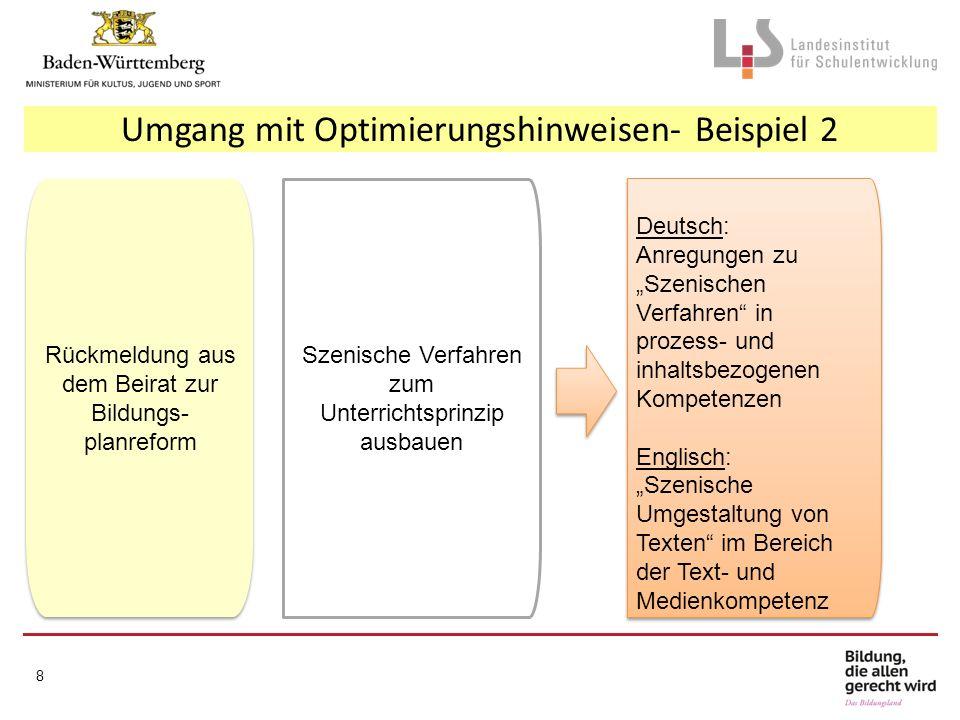 """8 Rückmeldung aus dem Beirat zur Bildungs- planreform Umgang mit Optimierungshinweisen- Beispiel 2 Deutsch: Anregungen zu """"Szenischen Verfahren"""" in pr"""
