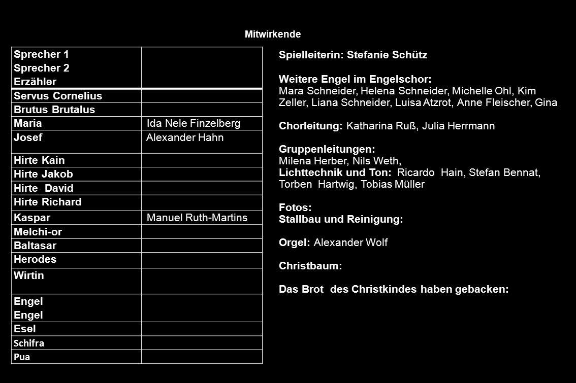 Spielleiterin: Stefanie Schütz Weitere Engel im Engelschor: Mara Schneider, Helena Schneider, Michelle Ohl, Kim Zeller, Liana Schneider, Luisa Atzrot,