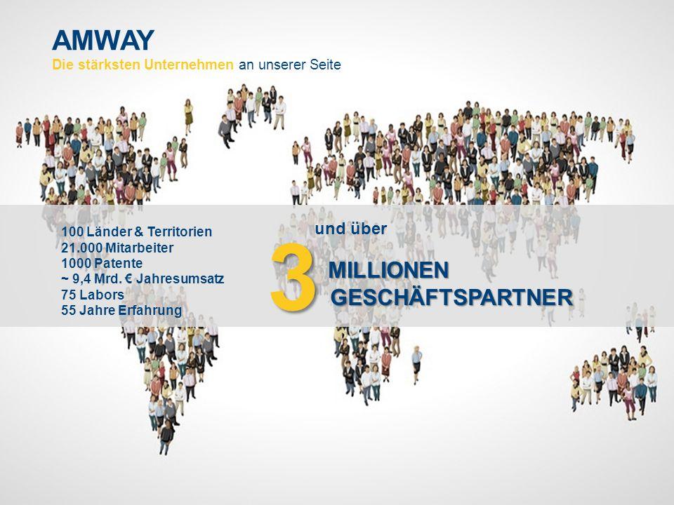 AMWAY Die stärksten Unternehmen an unserer Seite 100 Länder & Territorien 21.000 Mitarbeiter 1000 Patente ~ 9,4 Mrd.