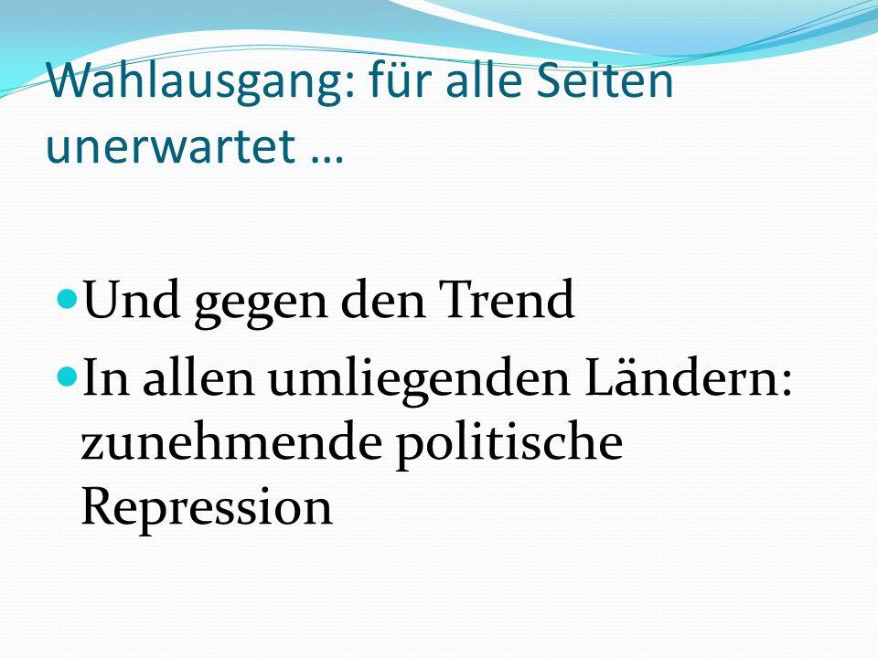 Und gegen den Trend In allen umliegenden Ländern: zunehmende politische Repression