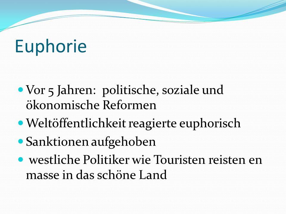 Euphorie Vor 5 Jahren: politische, soziale und ökonomische Reformen Weltöffentlichkeit reagierte euphorisch Sanktionen aufgehoben westliche Politiker wie Touristen reisten en masse in das schöne Land