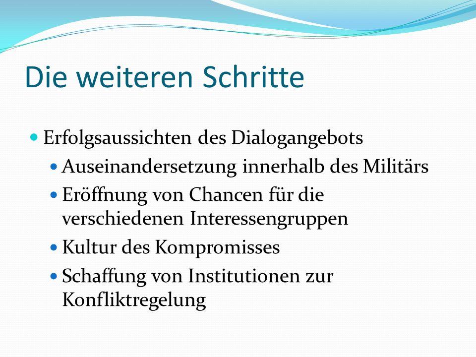 Die weiteren Schritte Erfolgsaussichten des Dialogangebots Auseinandersetzung innerhalb des Militärs Eröffnung von Chancen für die verschiedenen Interessengruppen Kultur des Kompromisses Schaffung von Institutionen zur Konfliktregelung