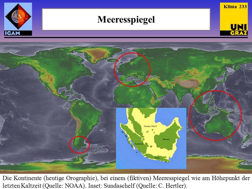Meeresspiegel Die Kontinente (heutige Orographie), bei einem (fiktiven) Meeresspiegel wie am Höhepunkt der letzten Kaltzeit (Quelle: NOAA).
