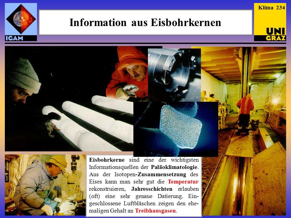 Information aus Eisbohrkernen Eisbohrkerne sind eine der wichtigsten Informationsquellen der Paläoklimatologie.