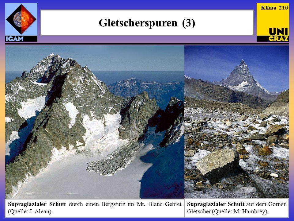 Gletscherspuren (3) Klima 210 Supraglazialer Schutt durch einen Bergsturz im Mt.