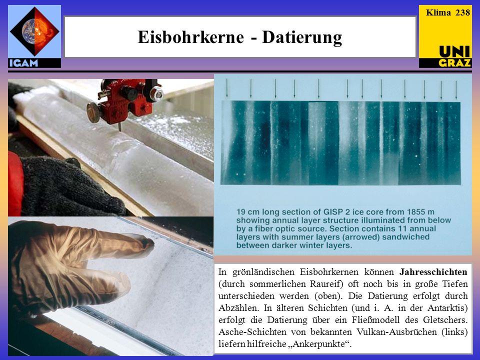 Eisbohrkerne - Datierung In grönländischen Eisbohrkernen können Jahresschichten (durch sommerlichen Raureif) oft noch bis in große Tiefen unterschieden werden (oben).