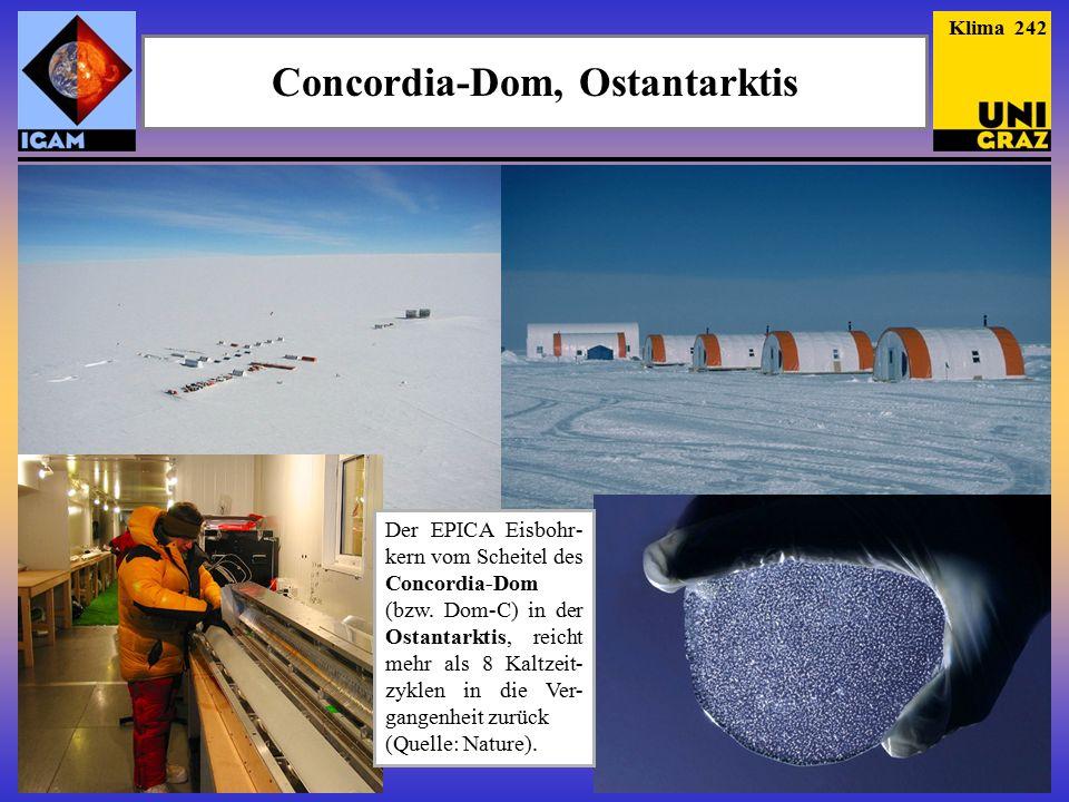 Concordia-Dom, Ostantarktis Klima 242 Der EPICA Eisbohr- kern vom Scheitel des Concordia-Dom (bzw.