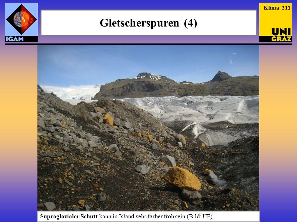Gletscherspuren (4) Klima 211 Supraglazialer Schutt kann in Island sehr farbenfroh sein (Bild: UF).